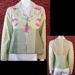 Green floral fitted jacket M